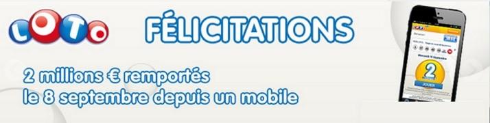 Le gagnant en ligne du Loto de ce lundi 8 septembre a joué depuis un mobile.