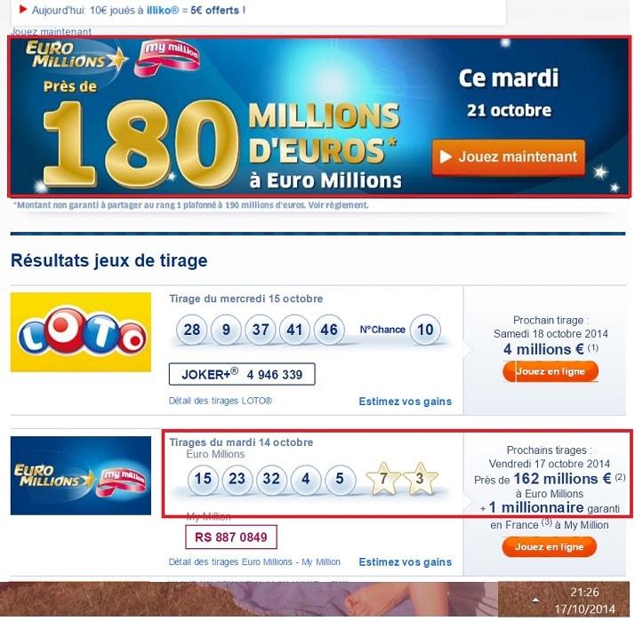 copie d'écran fail de la fDJ.fr pour le tirage Euromillions de ce vendredi 17 octobre