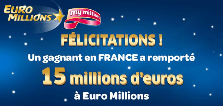 premier gagnant Euromillions de 2015, 15 millions d'euros pour ce mardi 3 février 2015