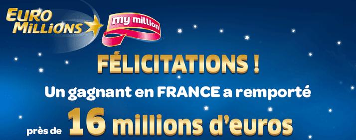 gagnant français à l'Euromillions pour 16 millions d'euros
