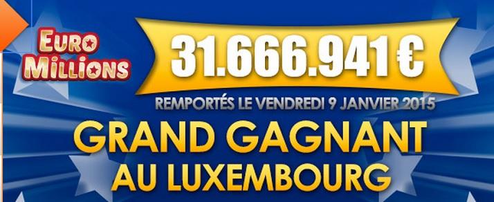 gagnant Euromillions au Luxembourg pour 31,6 millions d'euros