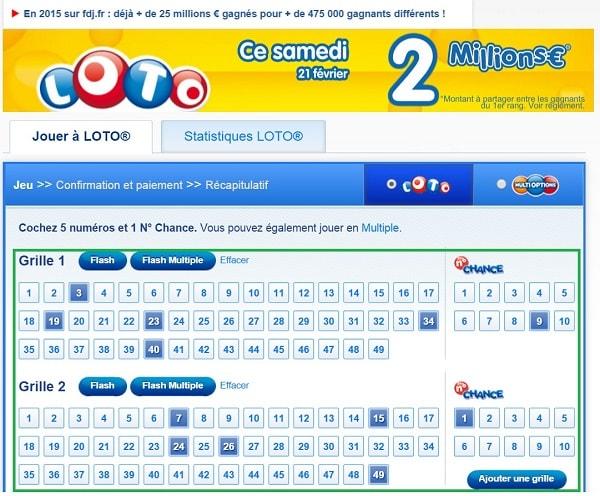 exemple d'une grille Loto en ligne