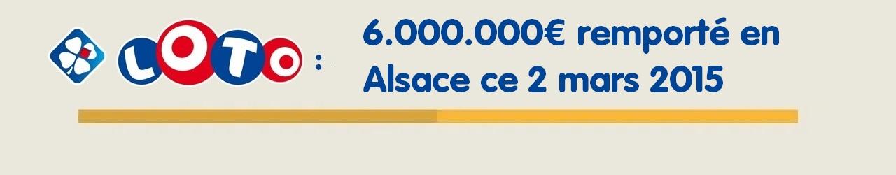 gagnant Bas Rhin au Loto de 6 millions d'euros le 2 mars 2015