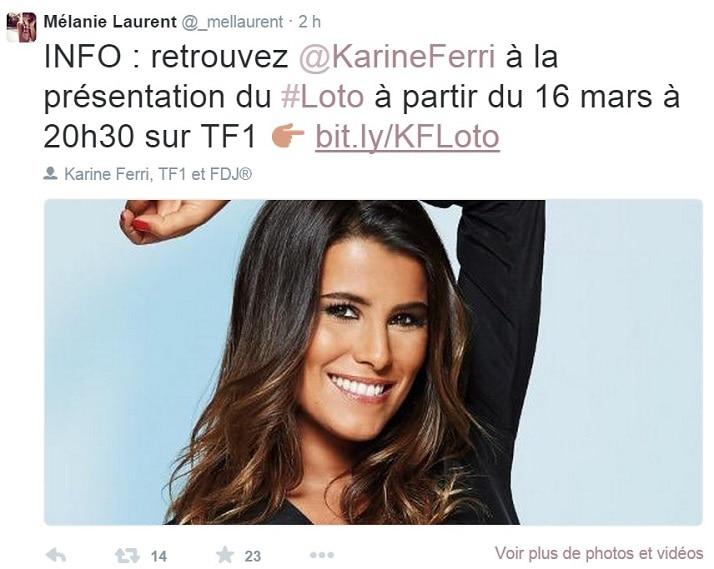 Karine Ferri twitter Loto