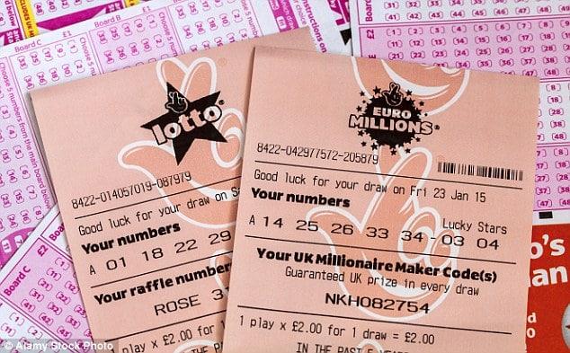 exemple de tickets de Lotto et Euromillions en Grande-Bretagne