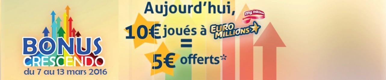 bonus crescendo pour l'Euromillions et le Loto