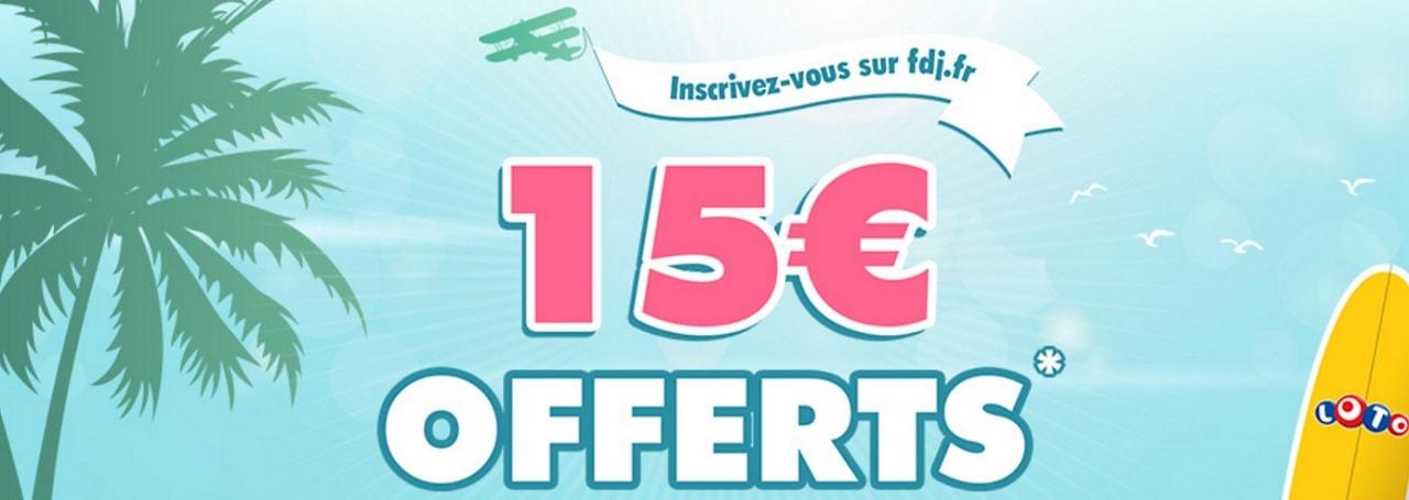 bannière d'inscription de bonus FDJ.fr de 15€