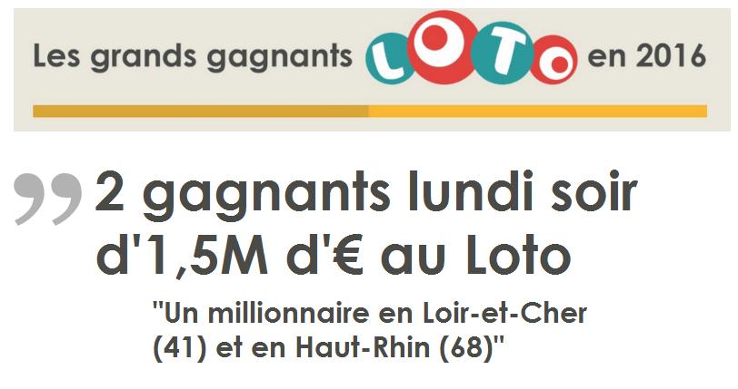 2 gagnants Loto ce lundi 26 septembre 2016