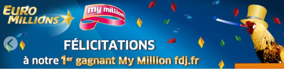 Gagnant My Million par Internet le 10 janvier 2017