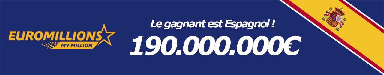 Gagnant espagnol pour ce tirage euromillions du 6 octobre 2017