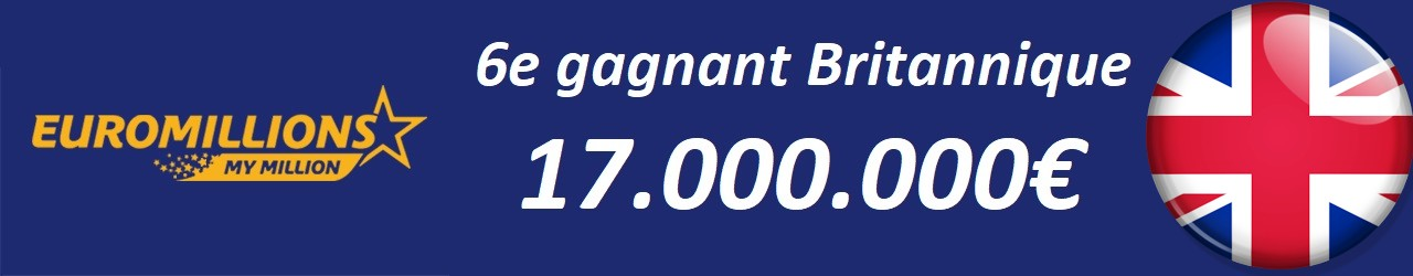 Gagnant Euromillions britannique pour 17 millions d'euros