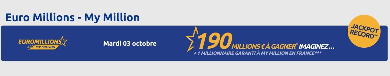 Millionnaires Euromillions pour ce tirage du 190 millions d'euros