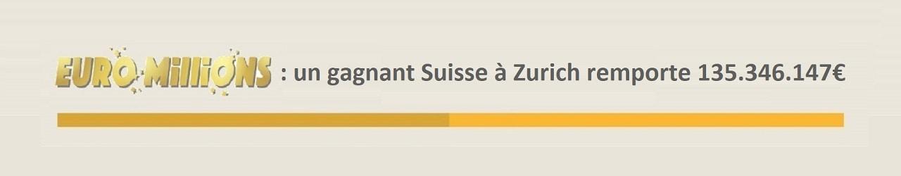 Euromillions : un gagnant suisse remporte 135 millions d'euros