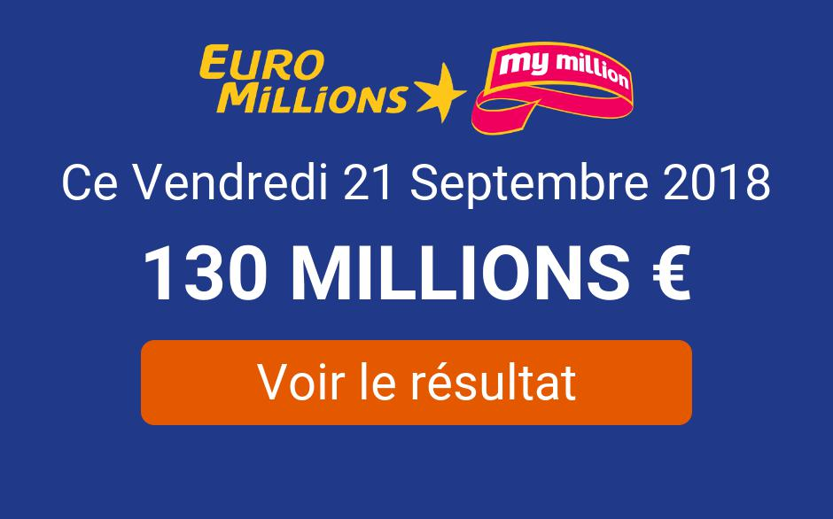 a8b9279c36e93a ᐅ • Résultat EuroMillions My Million Vendredi 21 Septembre 2018   Tirage  disponible !