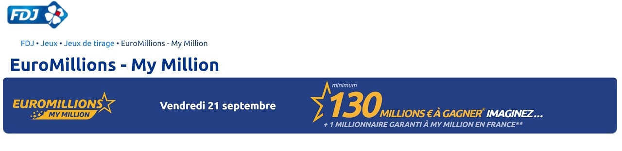 Super Jackpot Euromillions du vendredi 21 septembre 2018