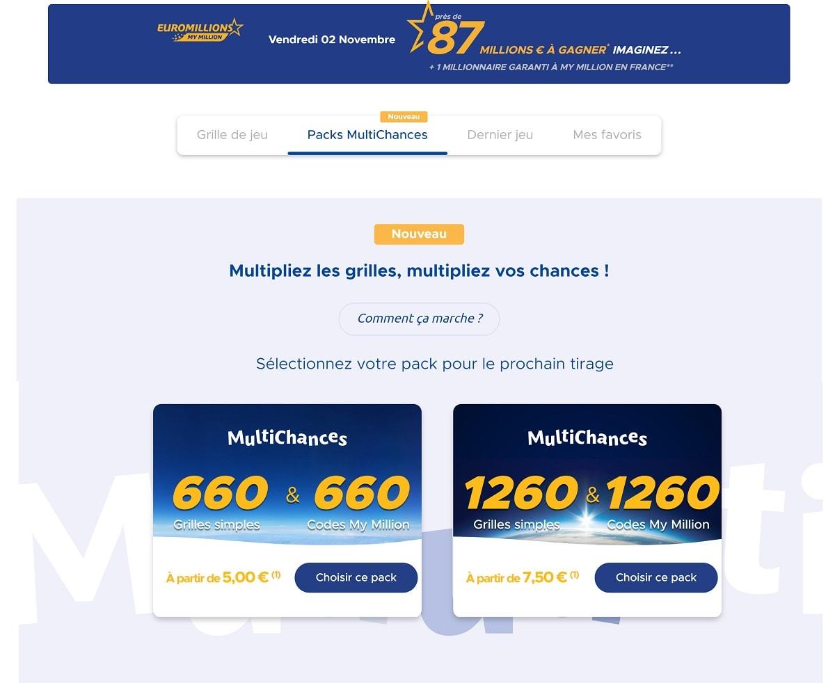 Packs Multichances EuroMillions : l'onglet sur FDJ.fr