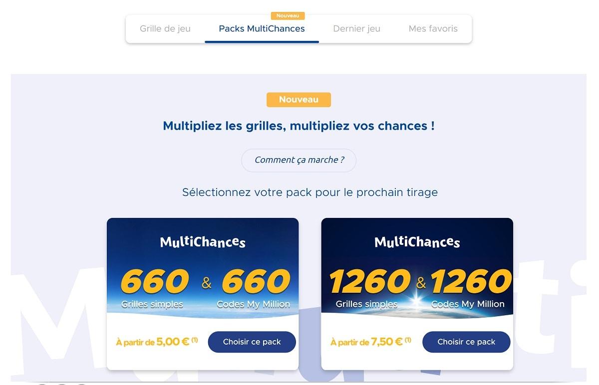 Packs Multichances pour la loterie européenne EuroMillions
