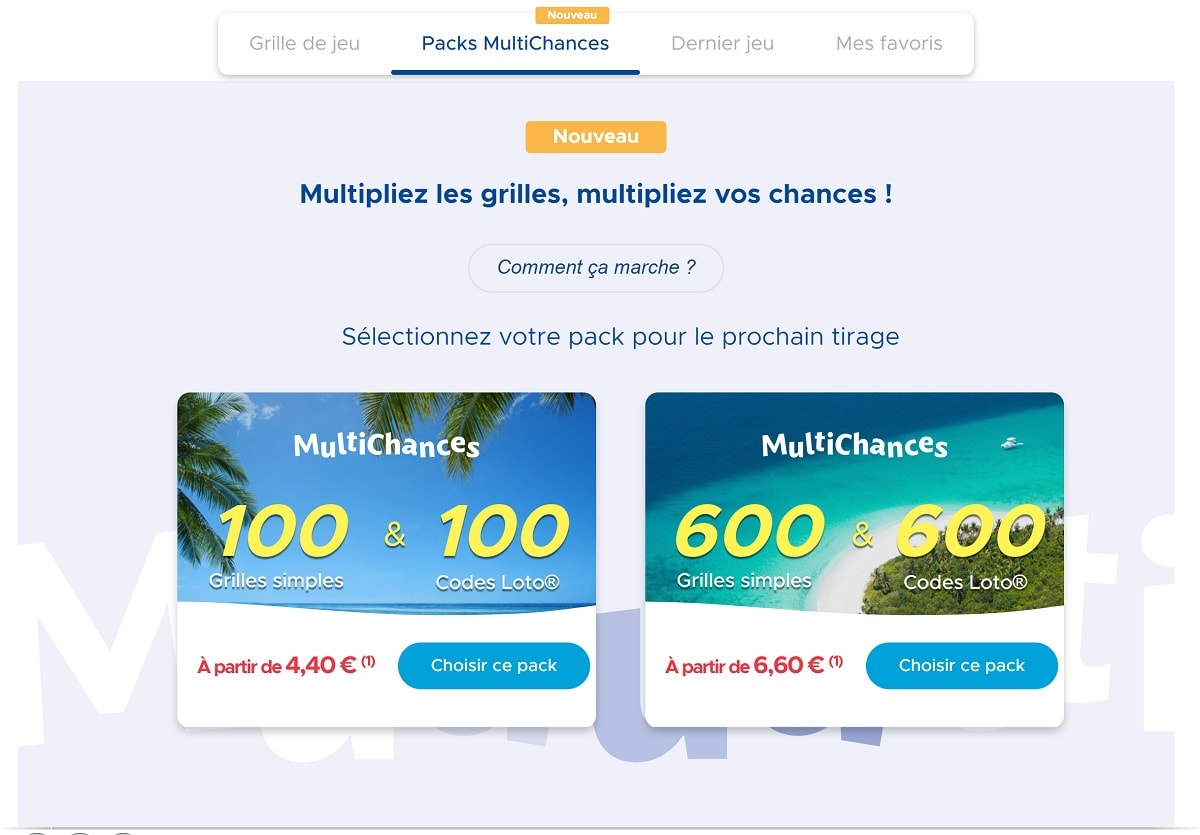 Pack Multichances pour la loterie Loto