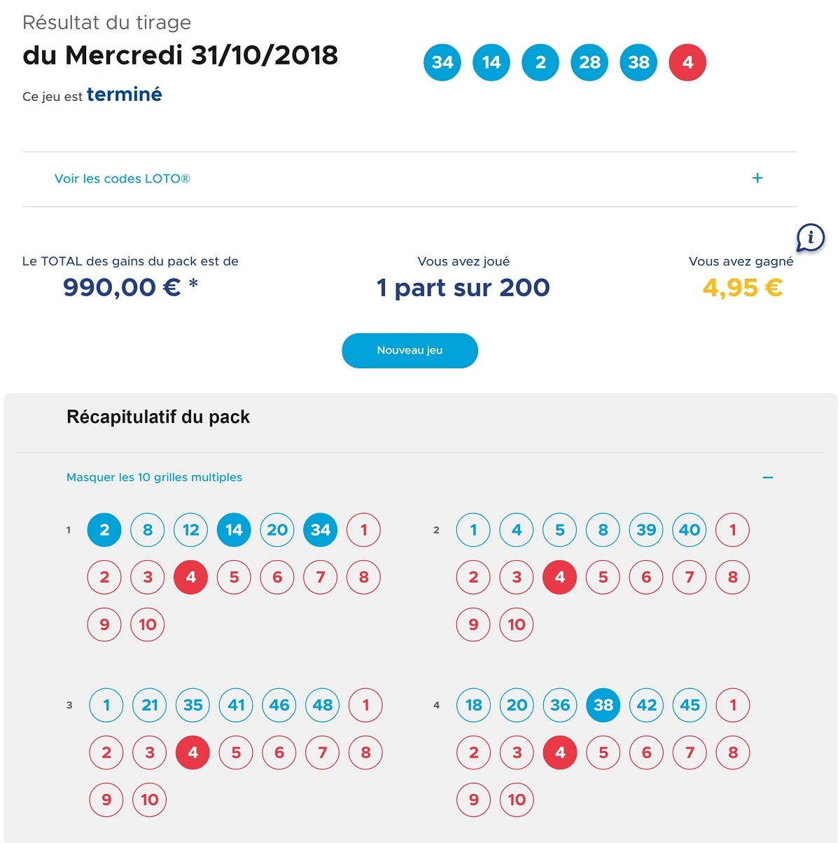 Rapport de gains pour un Pack Multichances Loto