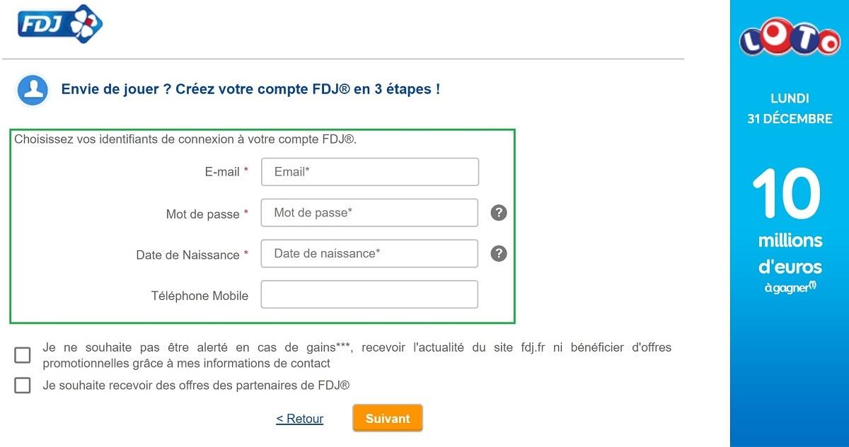 Inscription sur FDJ.fr
