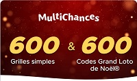Pack 600 grilles Multichances grand Loto de Noël