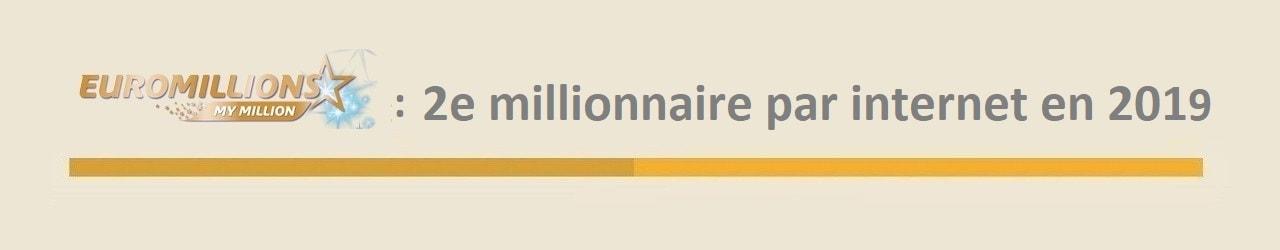 Deuxième gagnant My Million en 2019 par internet