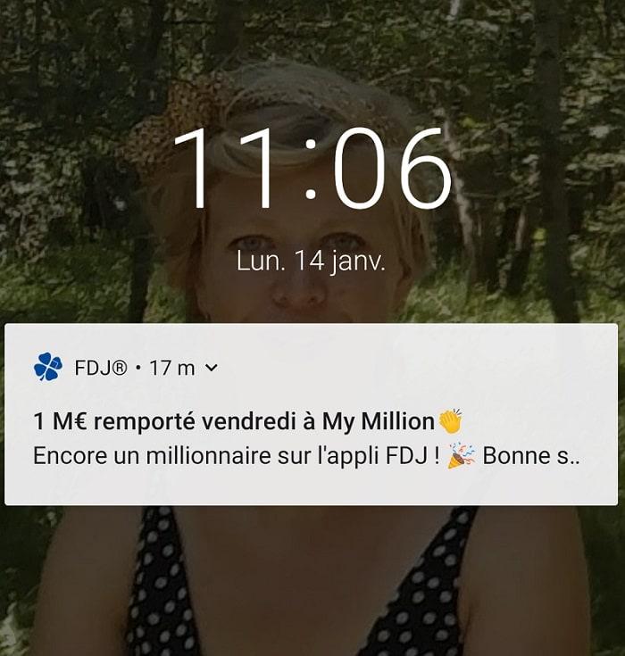 Gagnant My Million via l'application FDJ.fr