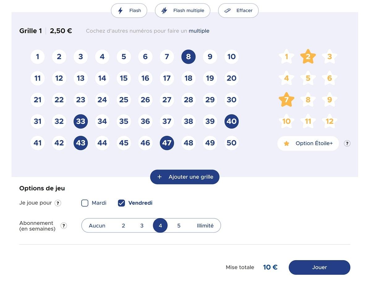 Jouer une grille Euromillions our le super jackpot du 1er février 2019