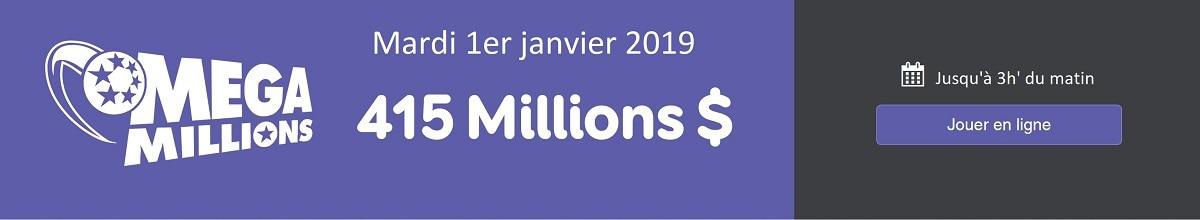 jouer au tirage Mega Millions de ce mardi 1er janver 2019