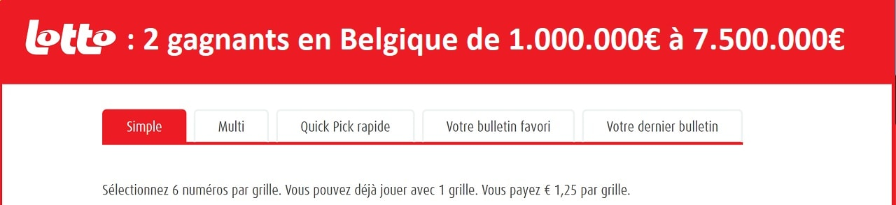 Lotto Belge : 2 gagnants en 2019