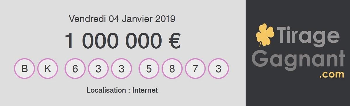 Premier gagnant My Million par internet en 2019