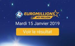 Résultat Euromillions my million du mardi 15 janvier 2019