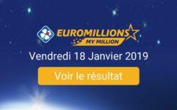 Résultat EuroMillions du vendredi 18 janvier 2019
