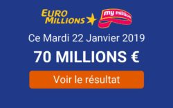 Résulta EuroMillions My Million du mardi 22 janvier 2019
