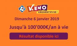 resultat keno dimanche 6 janvier 2019 1