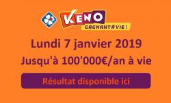 resultat keno lundi 7 janvier 2019
