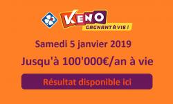 resultat keno samedi 5 janvier 2019