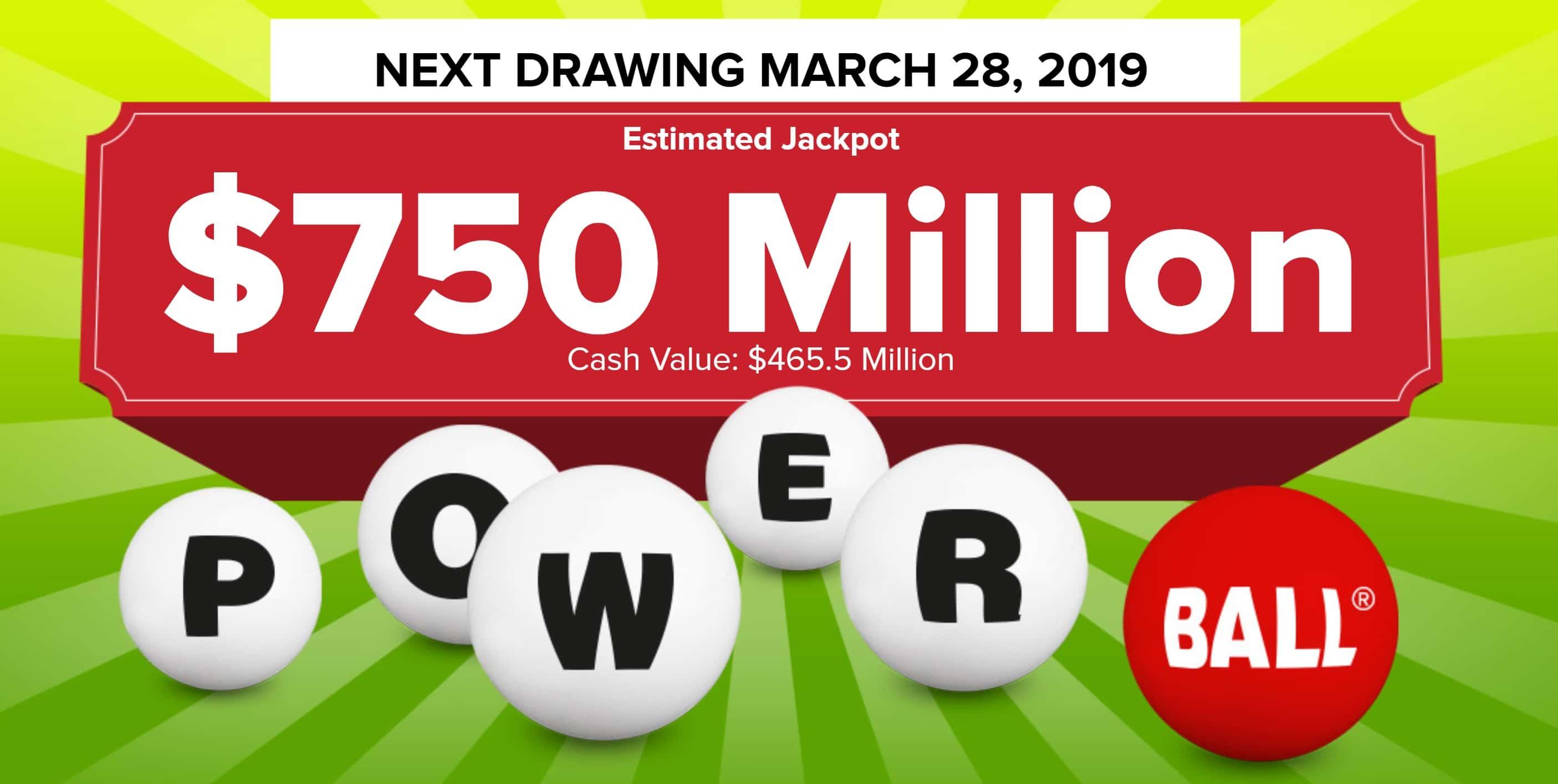 annonce powerball de 750 millions de dollars ce mercredi 27 mars 2019