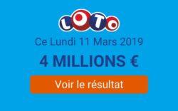 Tirage Loto FDJ du lundi 11 mars 2019 : Résultat à 20h50