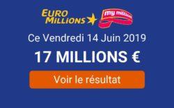 résultat Euromillions du vendredi 14 juin 2019