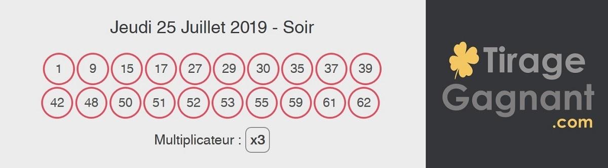 résultat Keno Gagnant à Vie du jeudi 25 juillet 2019 au soir