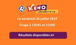 resultat keno vendredi 26 juillet 2019