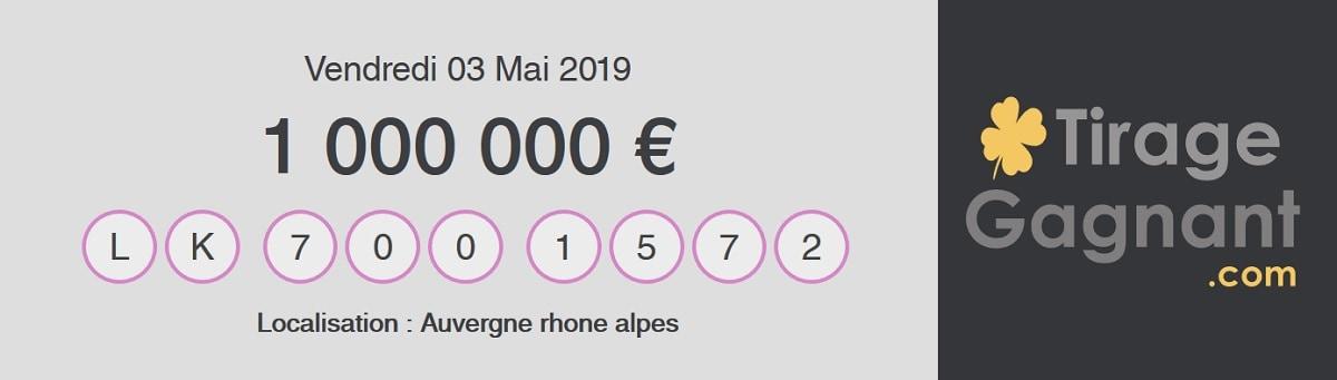 résultat My Million du 3 mai 2019