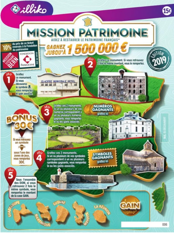 visuel du jeu de grattage Mission Patrimoine de 15€