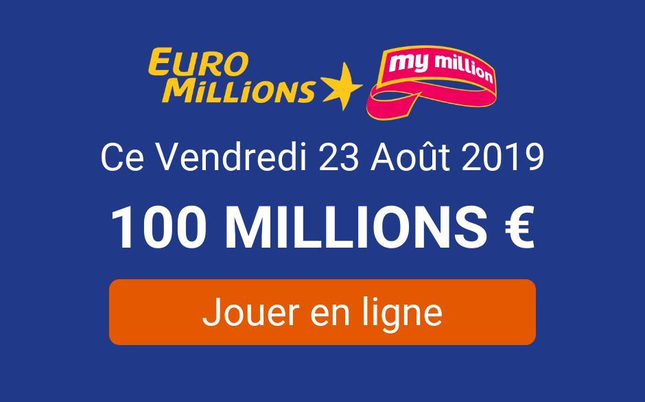 jouer a Euromillions ce vendredi 23 août 2019