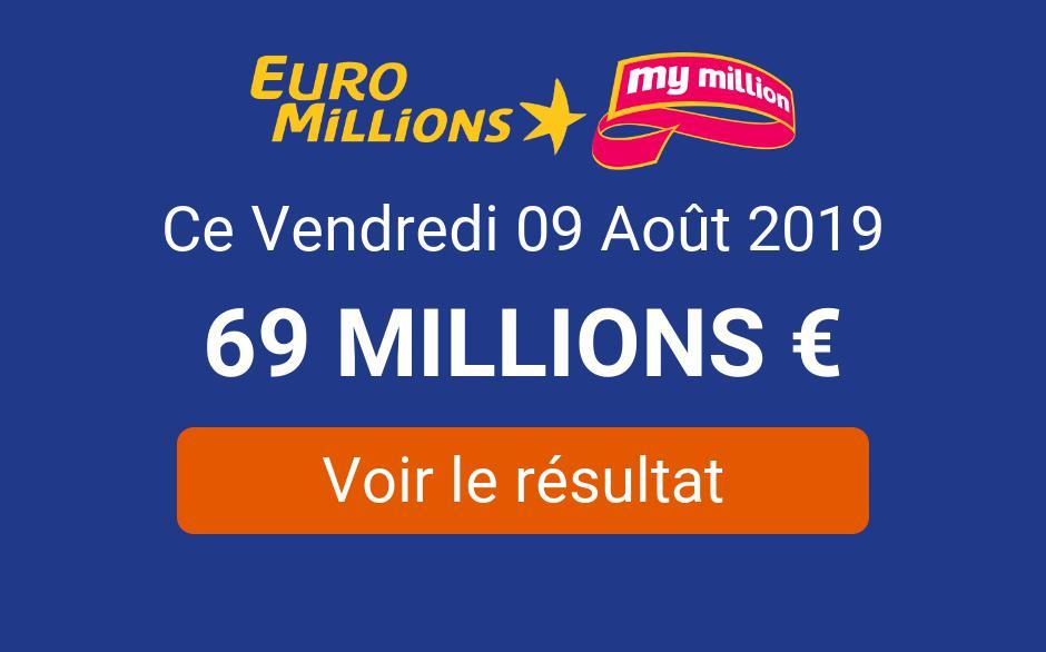 ᐅ • Résultat Euromillions My Million Vendredi 9 Août 2019