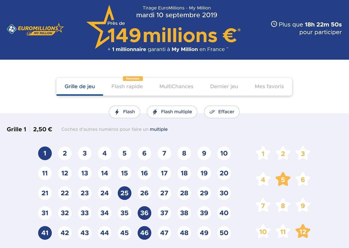 exemple de grilles Euromillions pour ce tirage du mardi 10 septembre 2019