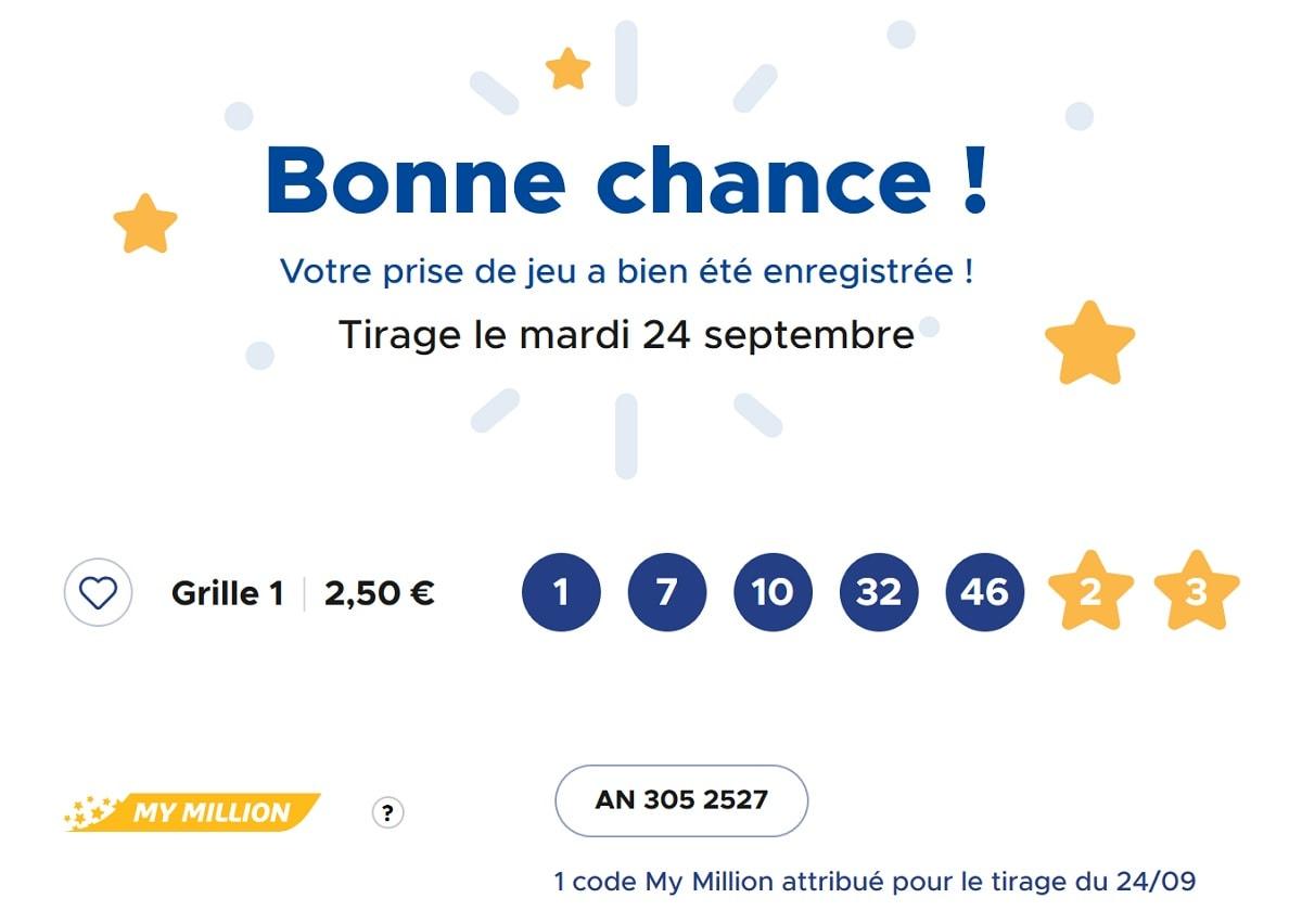 exemple d'une grille Euromillions du mardi 24 septembre 2019