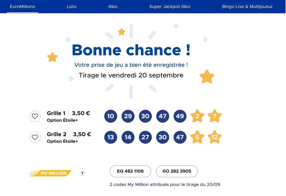 exemples de grilles euromillions validées pour ce tirage du vendredi 20 septembre 2019