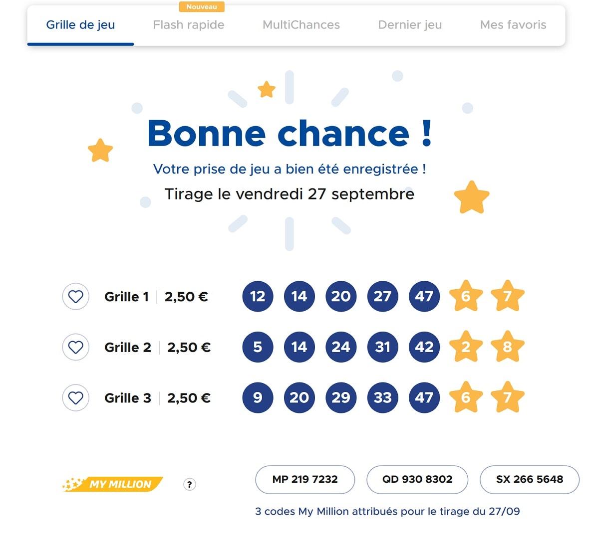 grilles jouées à l'Euromillions ce vendredi 27 septembre 2019